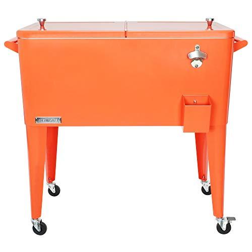 Permasteel PS-203-ORANGE-AM 80 Quart Portable Rolling Patio Cooler, Orange