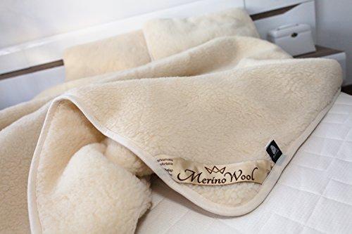 Coperta matrimoniale 100% lana di agnello Merino - 200x 200cm - Spessa e calda Prodotto naturale.