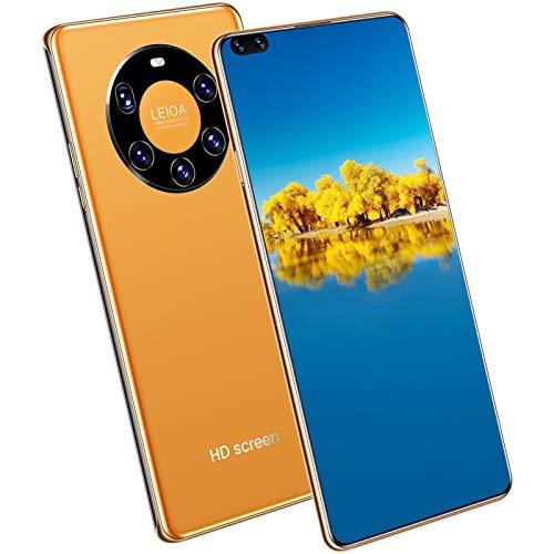 Telefonos Moviles Baratos, Mate 50 Pro Smartphone Libre Android 10, 48 MP Cámara Trasera Cuádruple, 12 GB RAM + 512 GB ROM, Pantalla De 7.3 Pulgadas, Batería 6000Mah,Naranja