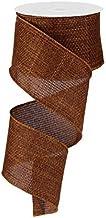 "EXPRESSIONS Rust Brown Cross Royal Burlap Wired Edge Ribbon (2.5"", Rust Brown) - 10 Yards : RG121274"