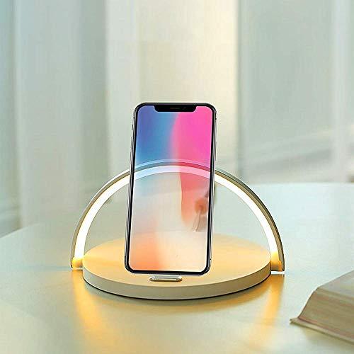YOJINKE Dimmbar LED Nachttischlampe mit Qi Wireless Charging, Stromversorgung über USB, Touch Control Schreibtischlampe für Schlafzimmer/Arbeitszimmer/Büro