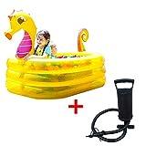 AMEA Aufblasbarer Kinderpool Mit Luftpumpe, Seepferdchen-Verdickungsdruckpool, Rechteckiges Schwimmpaddelbecken, PVC-Pool Für Kinder Kinder,Gelb,170 * 114 * 120CM