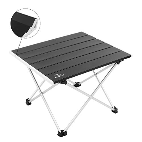 MSSOHKAN Ultralight Camping Portable Aluminum Folding Table,Mini Car Table with Collapsible Table Top,Camping Table with Carry Bag for Picnic,BBQ,Dining. (Black)