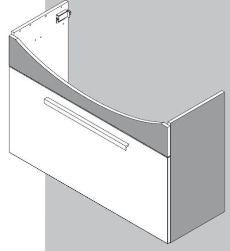FACKELMANN Waschtisch A-Vero 98 cm, Graueiche-Optik/weiß Hochglanz Unterschrank+Keramikbecken