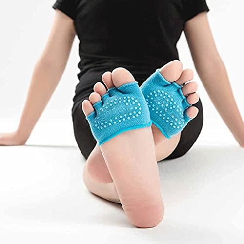 Diaod 3 Pares/Lote 1 par Mujeres Invisible Yoga Antideslizante Calcetines de Punta Lavable Media Agarre talón Cinco Dedo Calcetines (Color : Blue, Size : EUR 34-39 UK 4-6)