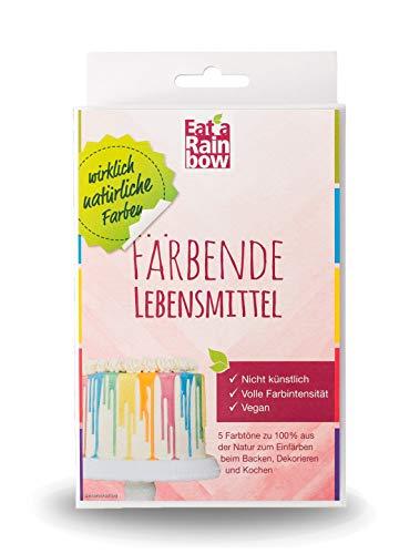Eat a Rainbow Natürliche Lebensmittelfarbe 5 x 10g Farben Set Pulver - Lebensmittel färben ohne Chemie