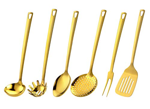 Marco Almond Golden Titanium Utensils Set, Stainless Steel Kitchen Cooking Spoons, Ladle Skimmer Spoons & Spatula Utensil Sets,6PCS Cooking Spoon,Dishwasher Safe,Frying & Grilling Cookware Tools
