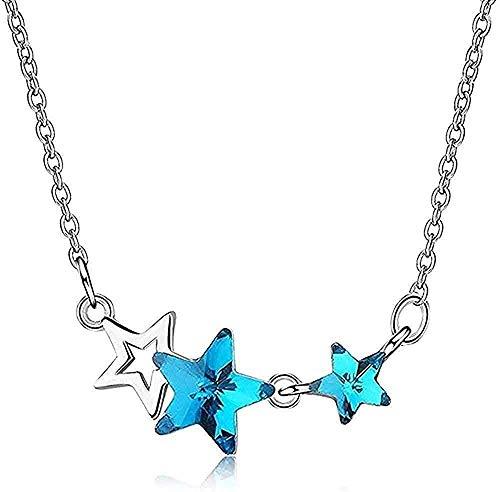 Yiffshunl Collar de Mujer Elegante Collar de Cristal Azul Artificial pentáculo Estrella Cadena de clavícula Corta Simple pequeño artículo Fresco Regalo niñas niños