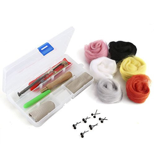 Co-Link Needle Felting Craft Kit Set Wool Felt Tools Needle Felting Foam kit Felting Mat Awl Needles with 6 Colors Wool Roving Felting Foam Mat Wooden Felting Handle 7 Needles Scissors Awl Finger St