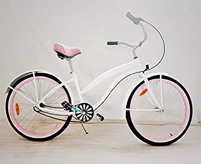 "movable Women's Shimano Nexus 3s Beach Cruiser Bicycle, 26"" Wheels/17 Aluminum Frame in Pink"