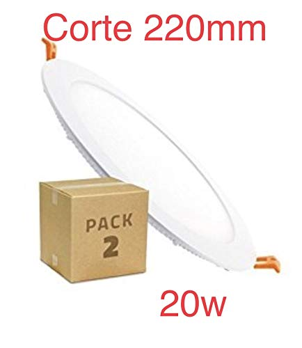 LED Atomant LED-paneel, rond, plat, 20 W, op maat te snijden 220 mm, buitenmaten 240 mm, kleur, driver inbegrepen, koud wit 6500 K, verpakking van 2