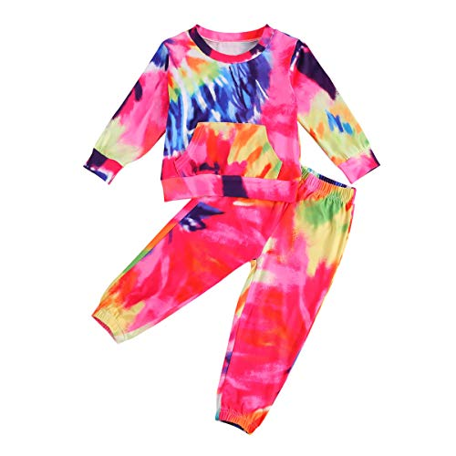 Kids Toddler Baby Girl Tie Dye Tracksuit Outfit Crewneck Top and Pants 2Pcs Clothes Set Sweatsuits Jogging Suits (Red Block, 3-4T)