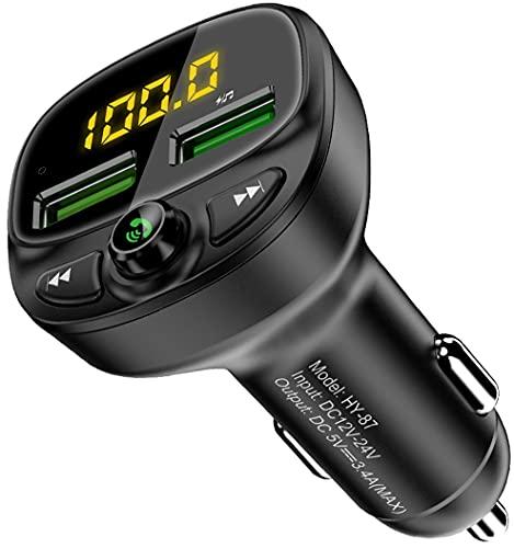 Transmisor FM Bluetooth 5.0 para Coche, Manos Libres Inalámbrico Bluetooth Coche, Reproductor MP3 Coche Mechero, Adaptador de Radio con Dual USB 5V/3.4A, Soporte Tarjetas TF + U Disk