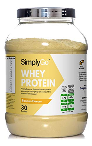 Whey Protein Powder by SimplyGo | 900g | Delicious Strawberry, Chocolate, Banana or Vanilla Flavoured Muscle Building Supplement | Simply Add 30g to Water, Juice or Shakes (Banana)