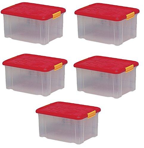ARTECSIS 5 x Aufbewahrungsboxen aus Plastik, 40 x 29 x 21 cm, mit Deckel, Eurobox, stapelbar, 15L (5, M)