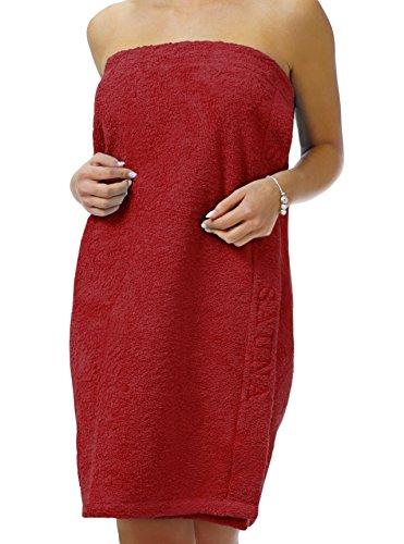 Lashuma Saunakilt für Dame mit Klettverschluss, Einheitsgröße: 145 x 75 cm - Saunatuch Rot mit Stick - 100% Baumwolle