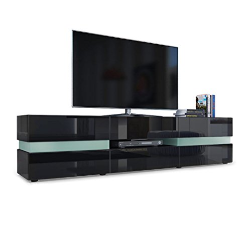 Vladon TV Unit Cabinet Flow, Carcass in Black High Gloss/Front in Black High Gloss