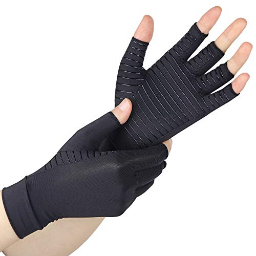 Compression Gloves with Copper for Arthritis Rheumatoid,Relief Pain and Swelling,Raynauds Disease - Copper Arthritis Gloves for Women and Men (Pair)(Black, M)