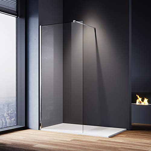 ELEGANT 700mm Walk in Shower Screen and 1200x800mm Slate Effect Shower Tray 8mm Easy Clean Glass Wet Room Screen Panel Shower Enclosure 1900mm Height