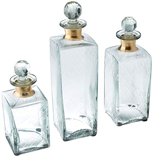 Imax 20028-3 Hampshire Etched Decanters, Set of 3, Clear/Bronze