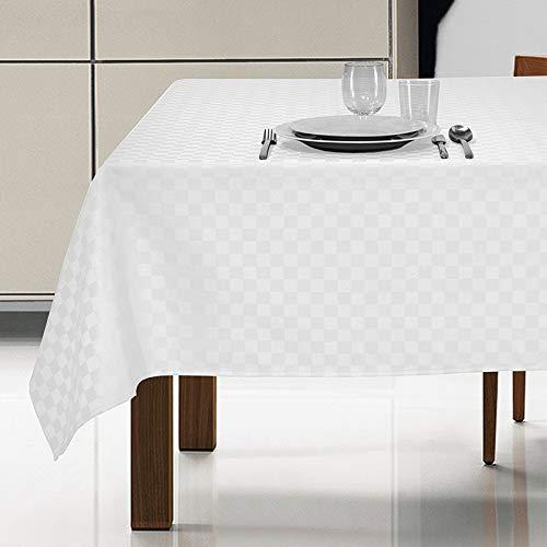 eurostyle Mantel antimanchas, color blanco, rectangular, impermeable, elegante, para mesa de cocina, 6 plazas, 140 x 180 cm