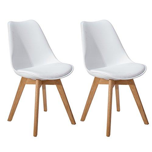 DORAFAIR Stuhl Esszimmerstühle Küchenstühle 2er Retro Design Gepolsterter lStuhl Küchenstuhl mit Massivholz Eiche Bein,Weiß