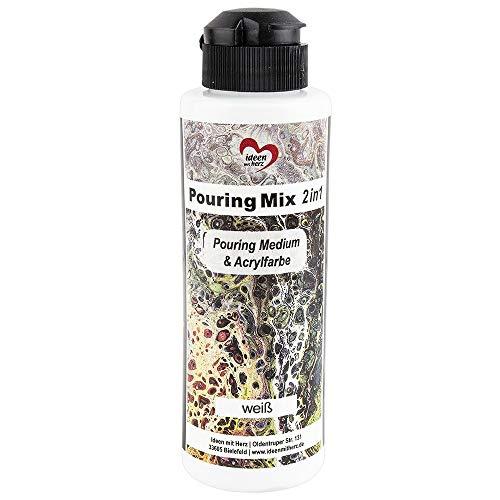Ideen mit Herz Pouring Mix 2 en 1 | Pouring Medio & Acrílico | 180 ml | No es necesario mezclar con fluido, medio o aceite de silicona (blanco)