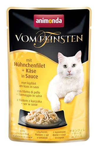 animonda Vom Feinsten Adult Katzenfutter, Nassfutter für ausgewachsene Katzen, mit Hühnchenfilet + Käse, im Frischebeutel, 18 x 50 g