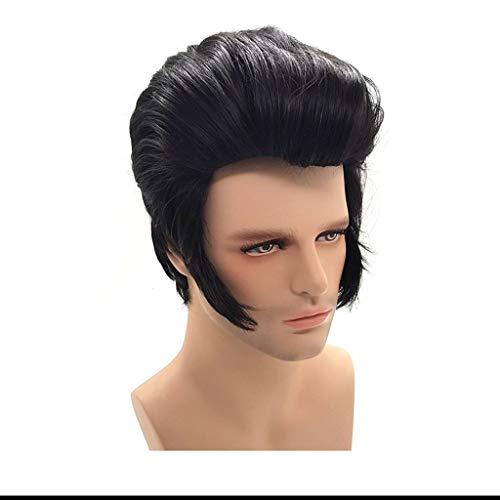 Pelucas para hombre, estilo rockero, color negro, para la vieja escuela, peluca de pelo sintético para disfraz de fiesta (color: negro)
