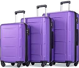 Merax Luggage Set Expandable 3 Piece Sets with TSA Lock, Lightweight Hardside Luggage with Spinner Wheels (Purple)