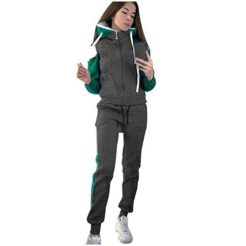 Sudadera para mujer, traje deportivo de lana con estampado informal de talla grande para mujer, ropa deportiva de manga larga de 2 piezas para mujer, sudadera, pantalones de chándal, pantalones con c