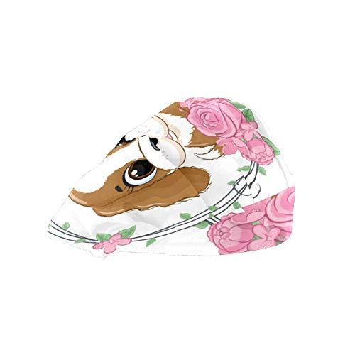 Gorro de trabajo con banda elástica ajustable para el sudor, gorro de trabajo para hombres, bufanda impresa en 3D, gorras de verano para bebé, perro, corona de flores