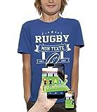 PIXEL EVOLUTION T-Shirt 3D Rugby Texte Personnalisable en Réalité Augmentée Enfant - Taille 9/11 Ans - Bleu Royal