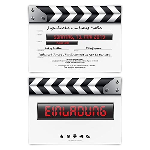 20 x Jugendweihe Einladungskarten individueller Text DIN A6 - Filmklappe
