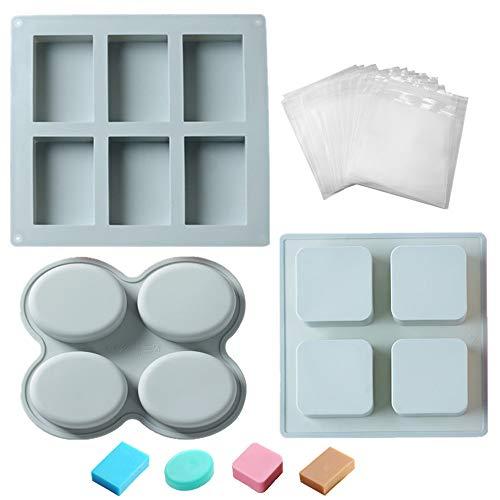 Paquete de 3 moldes para hacer jabón y 50 bolsas de envoltorio, 14 cavidades de silicona de grado alimenticio, kit de suministros para hacer jabón de formas mixtas DIY