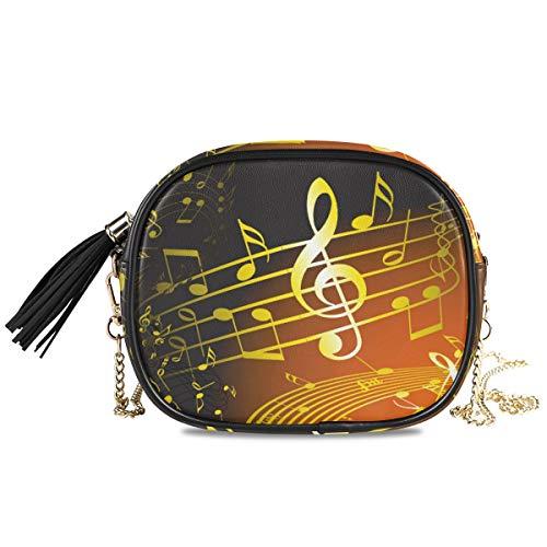 XiangHeFu portemonnee portemonnee kaarthouder muzieksymbool gouden noten muntcassette grote telefoon zak schattig