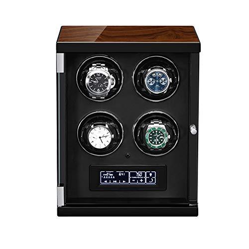 XYSQ Lujo Caja Giratorias para Relojes Automaticos,4 Relojes Y 3 Modos De Rotación,5 Velocidades Y Iluminación LED,Puerta Delantera Transprente Exhibición (Color : Black)