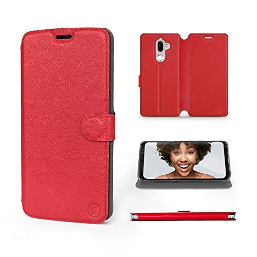 Mobiwear   Echt Lederhülle   Kompatibel mit Nokia 7 Plus, Made in EU handyhülle, Slim Leather Hülle, Premium Flip Schutzhülle, Transparent TPU Silicon, Book Style, Tasche - Rotes Leder