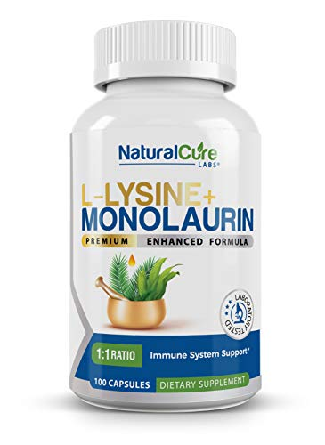 Natural Cure Labs L-Lysine + Monolaurin 600mg 1:1 Ratio, 100 Capsules