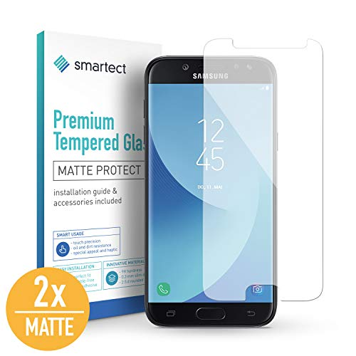 smartect Mattes Panzerglas kompatibel mit Samsung Galaxy J5 2017 [2X MATT] - Displayschutz mit 9H Härte - Blasenfreie Schutzfolie - Anti Fingerprint Panzerglasfolie