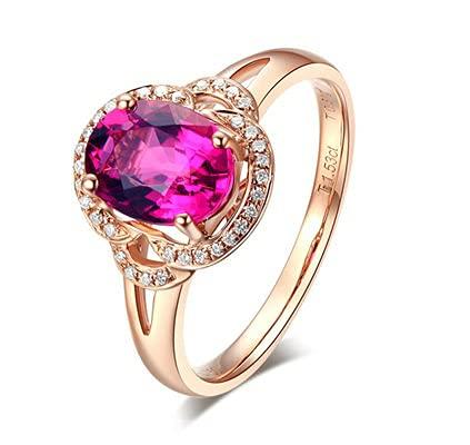 Bishilin Anillo de Oro Rosa 750 Mujeres Hombres Anillo de Banda Real, 1.52ct Turmalina con Diamante Anillo de Compromiso de Matrimonio Ajuste Cómodo Regalos para Cumpleaños Navidad