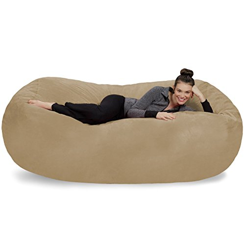 Sofa Sack - Plush Bean Bag Sofas with Super Soft Microsuede Cover - XL Memory Foam Stuffed Lounger Chairs for Kids, Adults, Couples - Jumbo Bean Bag Chair Furniture - Camel 7.5'
