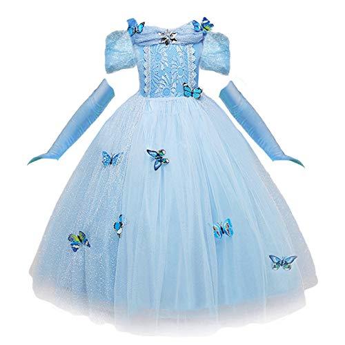 NNDOLL Vestido de Cenicienta Trajes de Carnaval niña Princesa Azul Claro Mariposa Manga Corta Vestido (110 (2-3 años)