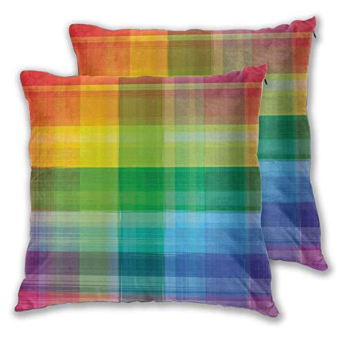 LONSANT Fundas de Cojines 45x45cm,DIY Vintage Rainbow Retro Plaid Design Cuadrados a Cuadros Patrón geométrico de Colores del Arco Iris,Almohada Funda de cojín para sofá Dormitorio,Pack de 2