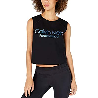 Calvin Klein Logo Print Cropped Performance Athletic Tank Top