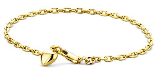 Miore Armband - Armreif Damen Gelbgold 9 Karat / 375 Gold Kette mit Herz 19 cm