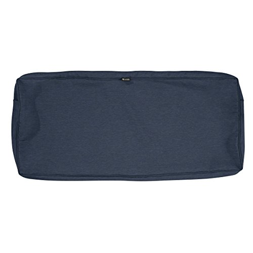 Classic Accessories Montlake Water-Resistant 42 x 18 x 3 Inch Patio Bench/Settee Cushion Slip Cover, Heather Indigo Blue