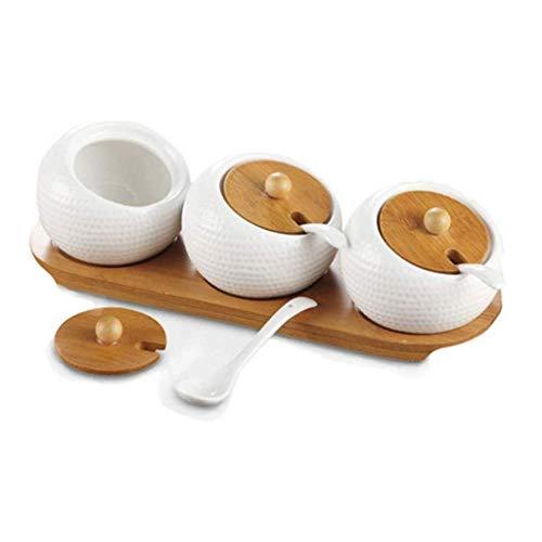 YAeele Condimento del hogar Botella, Boutique hogar Condimento de cerámica Spice Jar Jar Box Sal de Cocina condimento Botellas Conjunto Caja de Almacenamiento Herramientas de Cocina