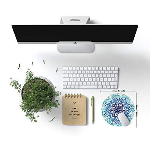 Mouse Pad, Round Mouse Mat, Non-Slip Rubber Base Beautiful Mandala Pattern Desktop Mousepad with Stitched Edge, Small Size 7.9 x 7.9 x 0.1 Inch (Mandala 14)