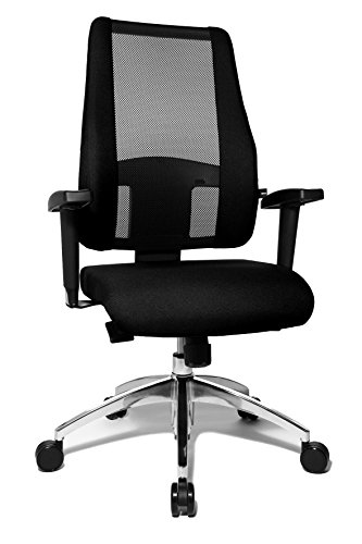 Topstar Air Syncro Bürostuhl, Schreibtischstuhl, Drehstuhl, Netzrückenlehne, inkl. höhenverstellbare Armlehnen, Stoffbezug, schwarz